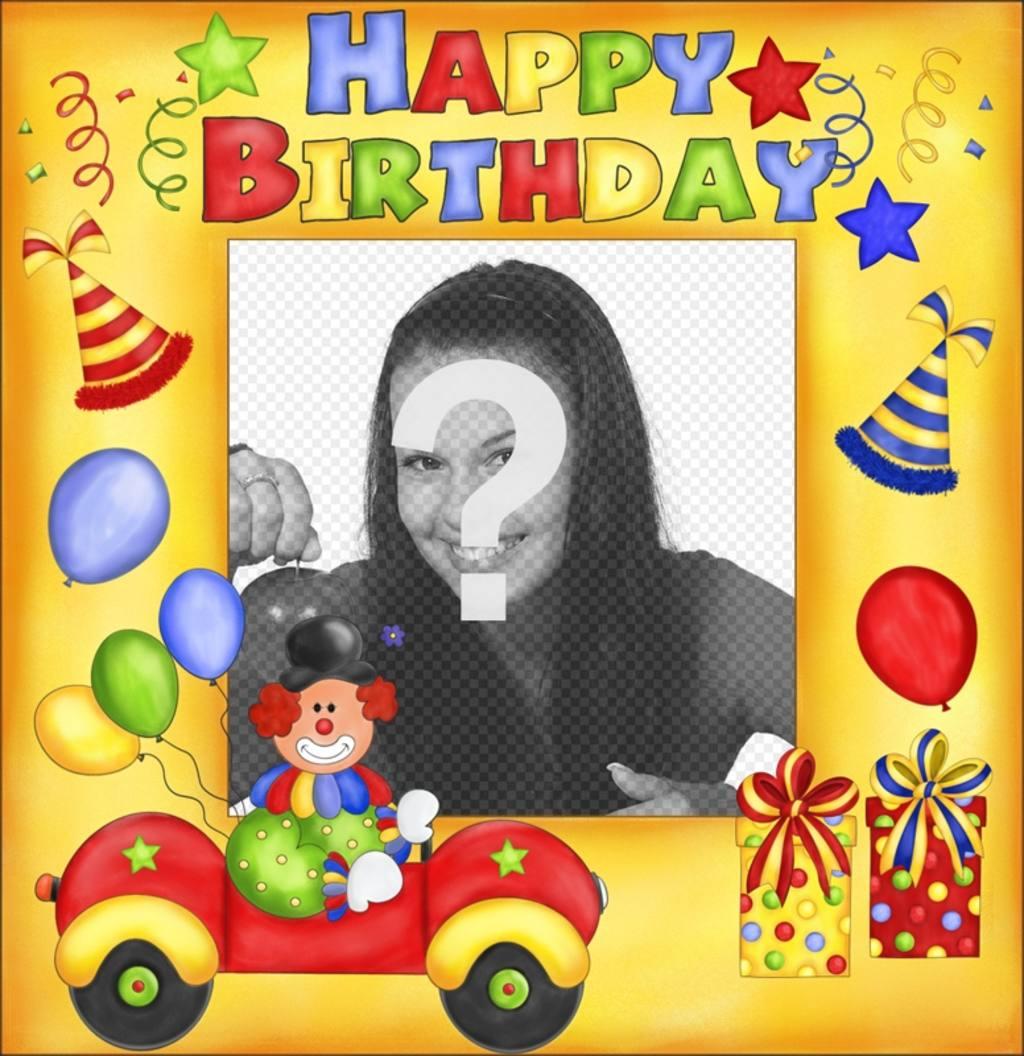Alles Gute zum Geburtstag Postkarte mit Clown und Ballons