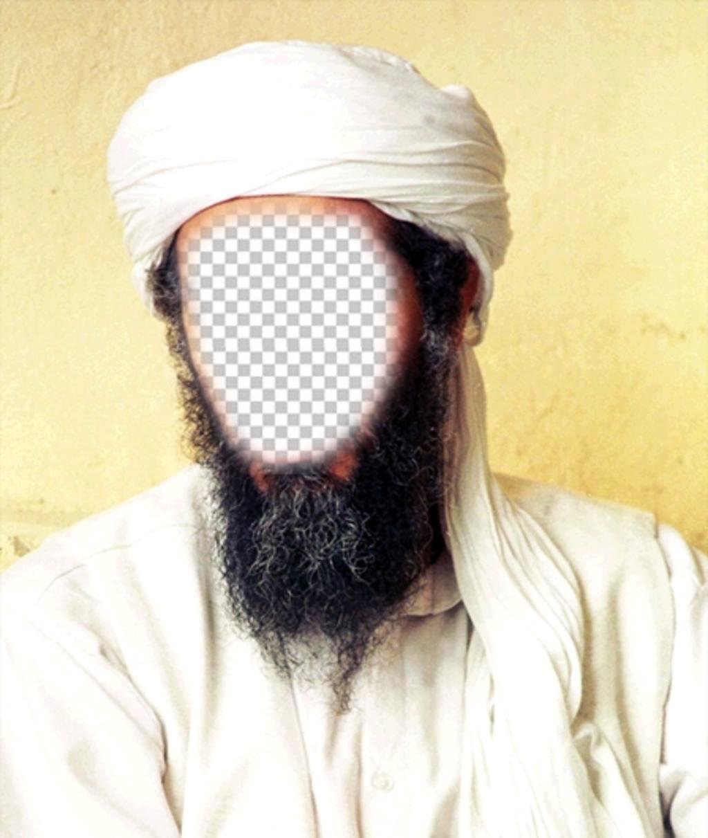 Fotomontage von Osama Bin Laden Sie Ihr Gesicht auf seinem Gesicht
