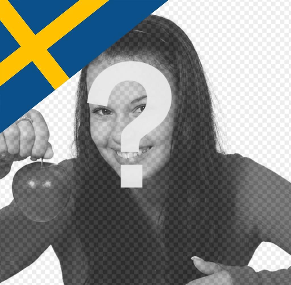 Foto-Effekt unter der Flagge von Schweden in der Ecke des Fotos zu setzen
