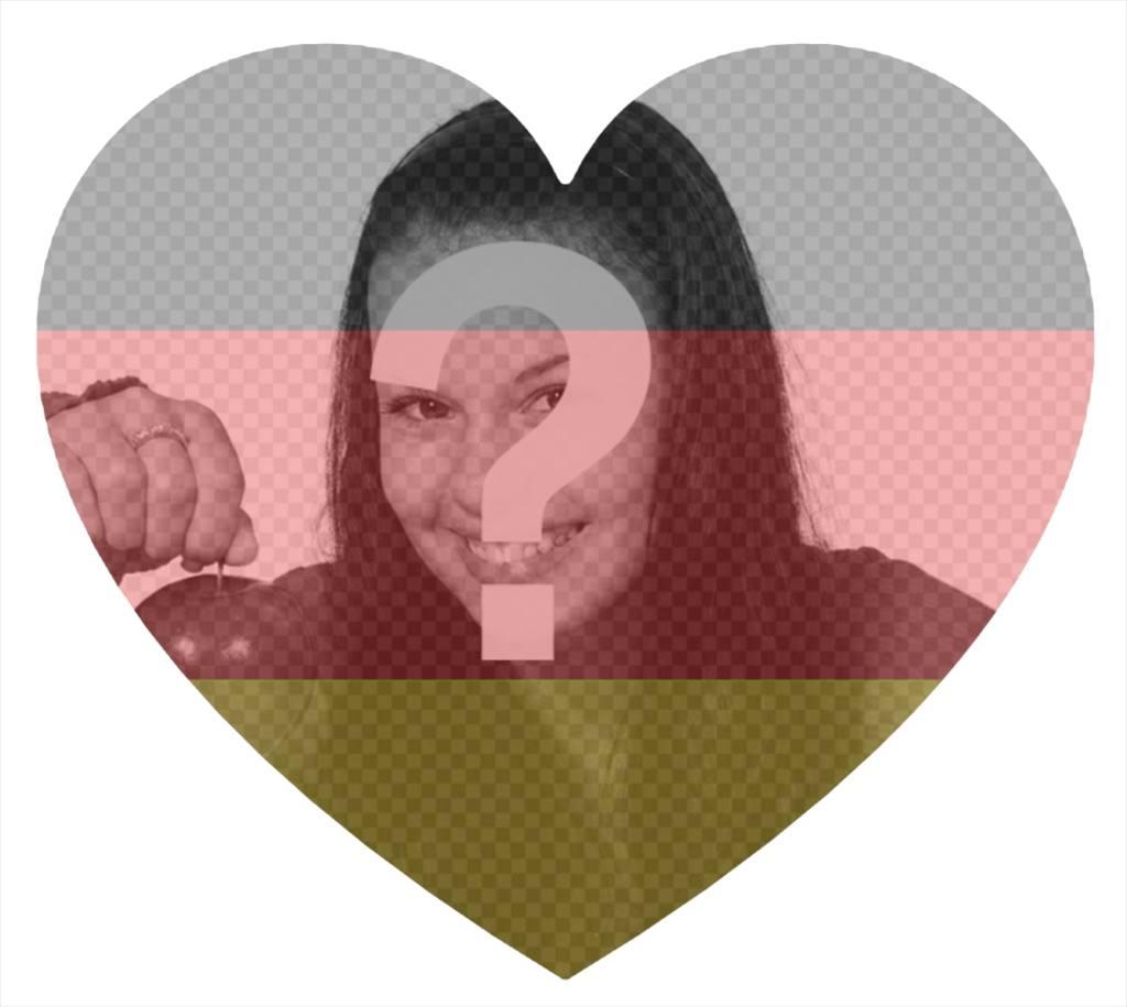 Effekt für Ihr Foto und fügen Sie die Flagge von Deutschland in Herzform