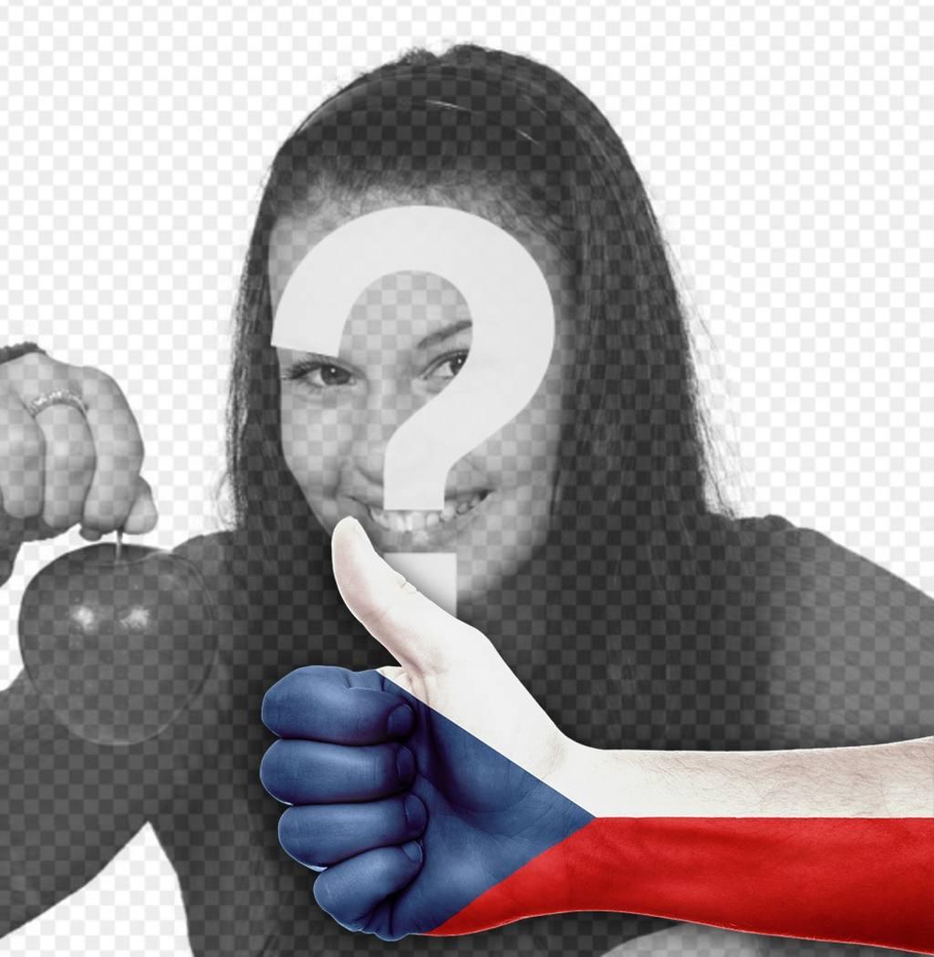 Hand mit dem Daumen nach oben und die Flagge der Tschechischen Republik Ihr Foto