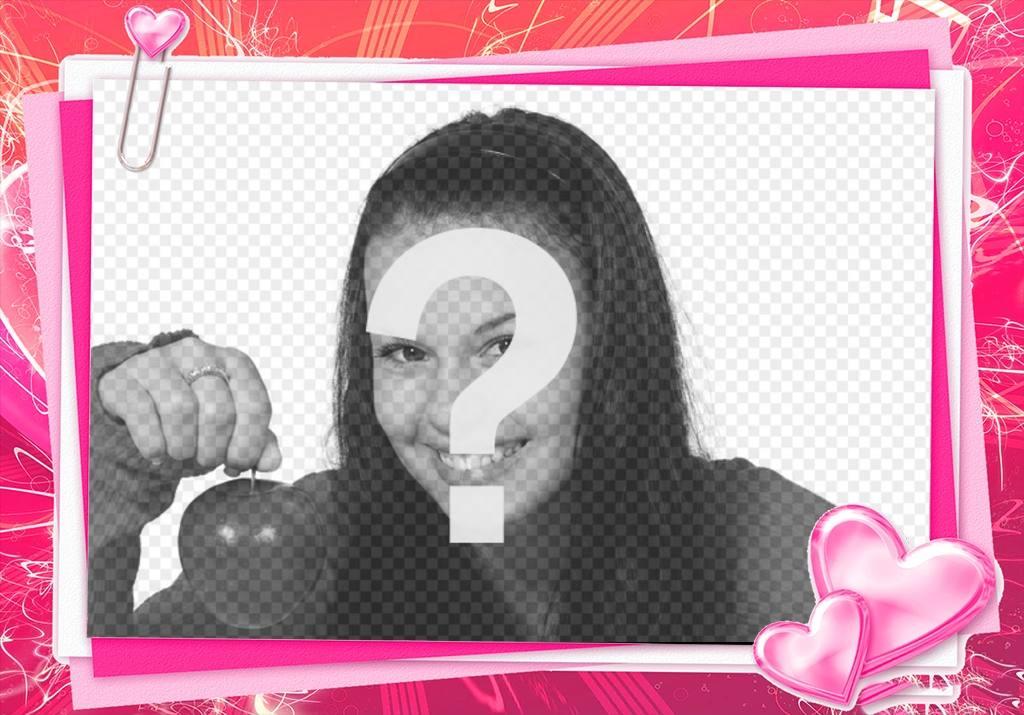 Rosa Rahmen mit Ihrem Foto eine Liebe Karte mit Herz zu bearbeiten ...