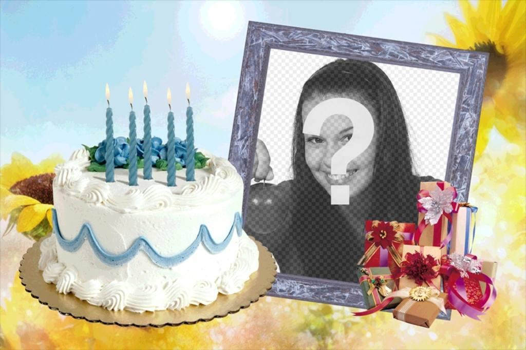 Fotorahmen mit Geburtstagstorte und Geschenke. Setzen Sie