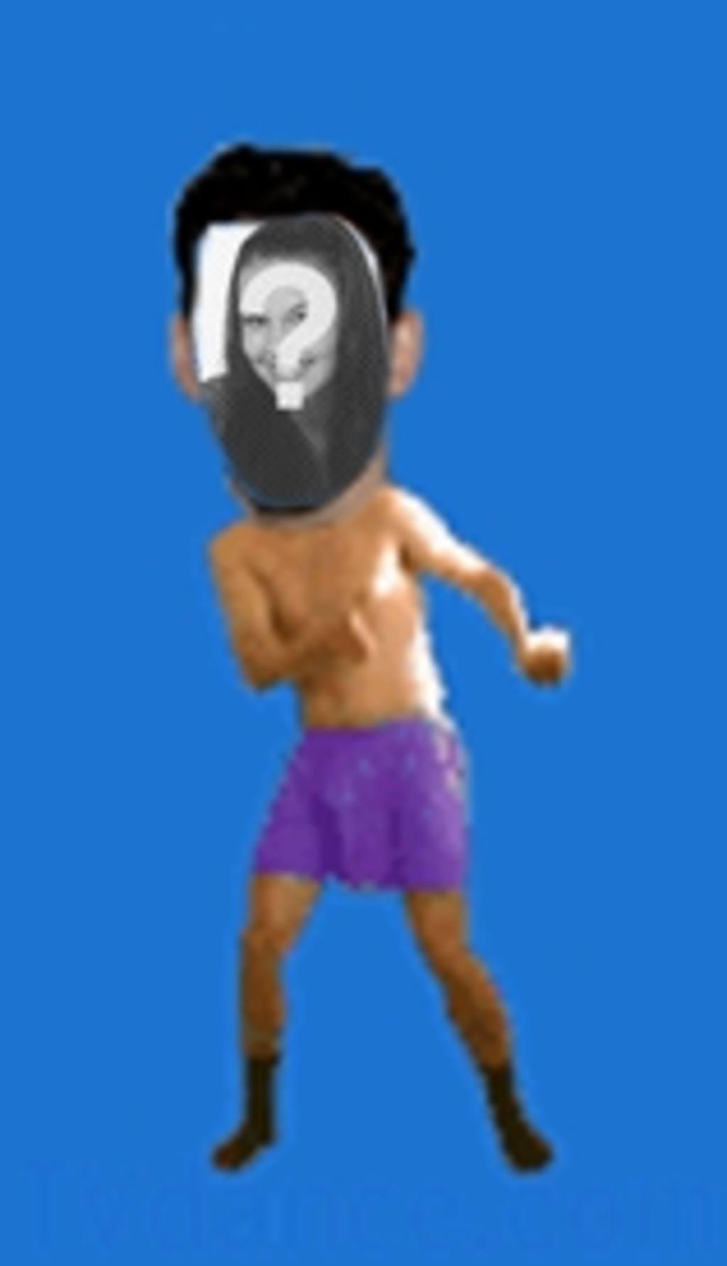 Animation eines Mannes in seiner Unterwäsche tanzen Boogie, in dem das Gesicht Ihrer Wahl einfügen