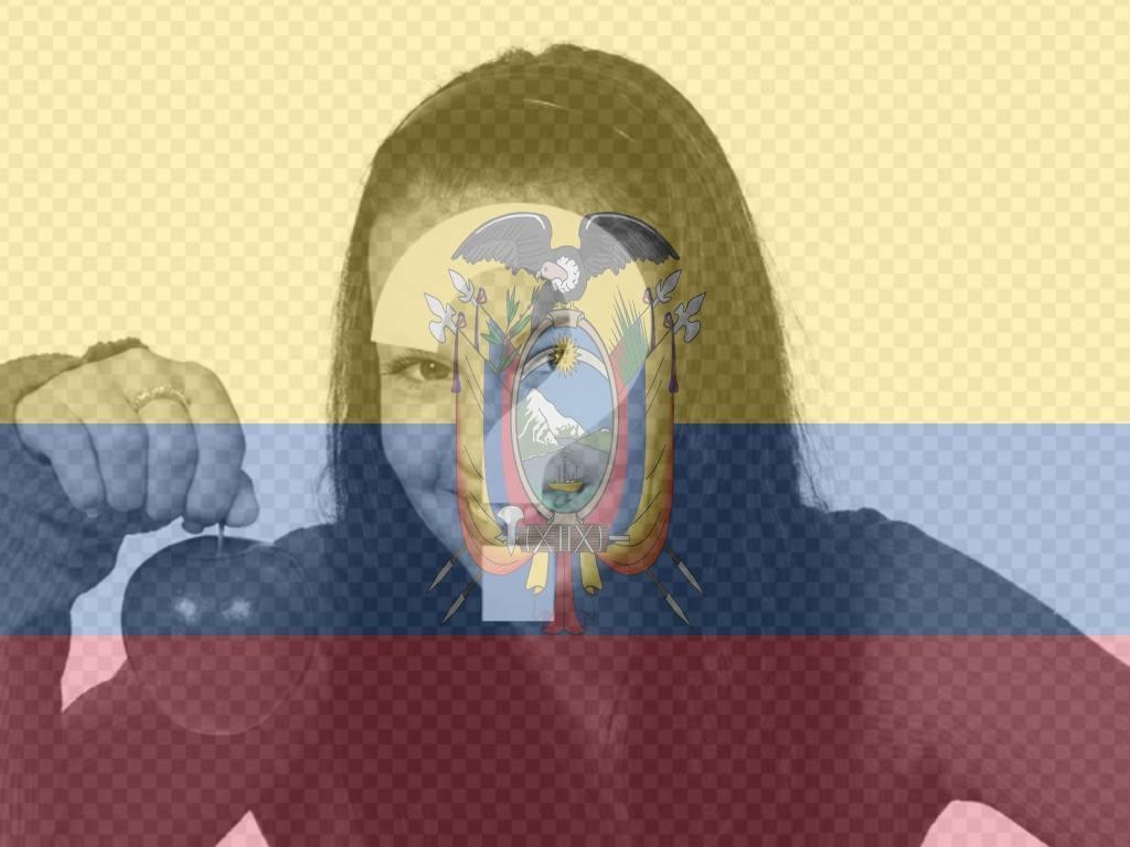 Fotomontage, die Flagge von Ecuador zusammen mit Ihrem Foto setzen