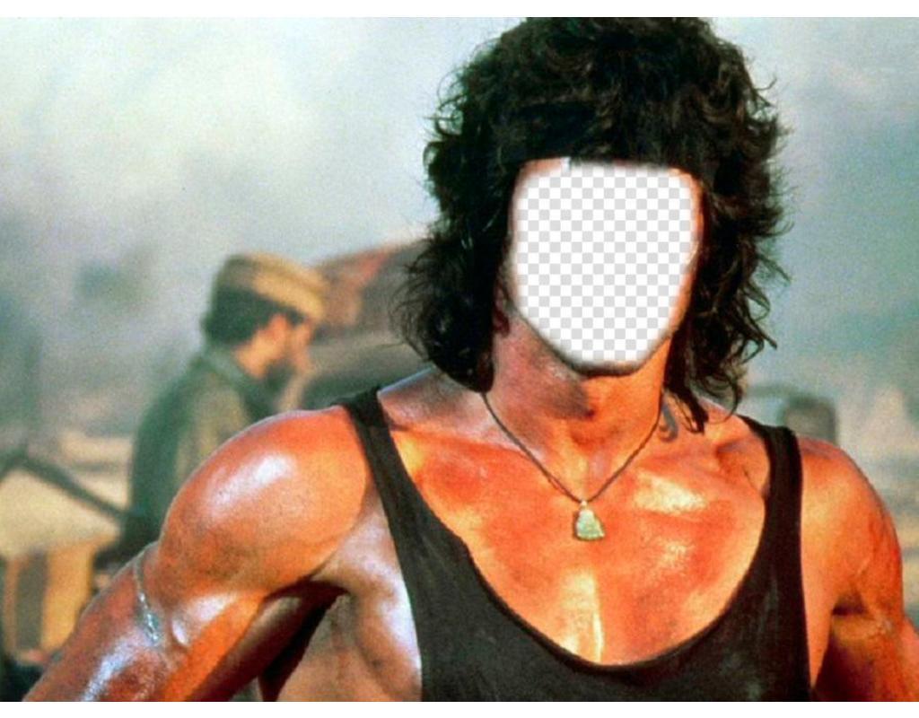 Fotomontage, die Sie das Gesicht legen können Sie in den Körper von Rambo wollen