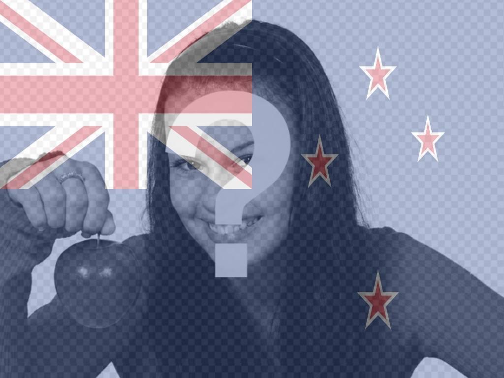 Profil-Foto Schöpfer, die Flagge von Neuseeland zusammen mit Ihrem Foto setzen