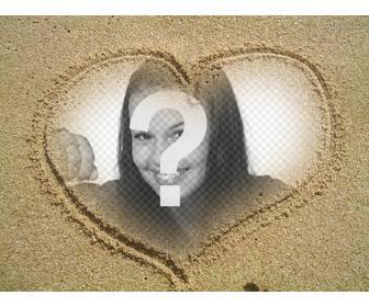 collage in einem rahmen von herz in den sand gezeichnet photoeffekte. Black Bedroom Furniture Sets. Home Design Ideas