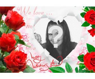romantische rahmen mit rosen und einem herzen um ihre fotos einf gen photoeffekte. Black Bedroom Furniture Sets. Home Design Ideas